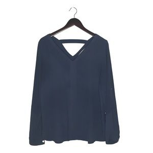 Loft slate blue long sleeve v neck blouse, M